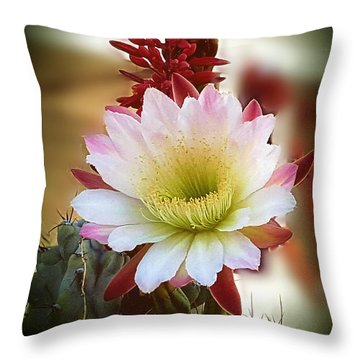 Throw Pillow featuring the photograph Night-blooming Cereus 2 by Marilyn Smith