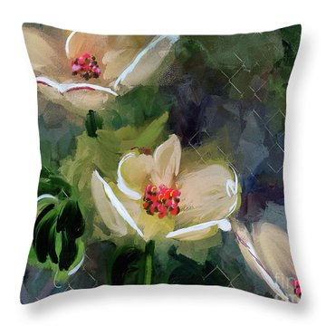 Night Blooming Dogwood Throw Pillow