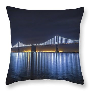 Night Bridge Throw Pillow by Mitch Shindelbower