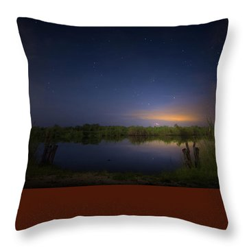 Night Brush Fire In The Everglades Throw Pillow by Mark Andrew Thomas