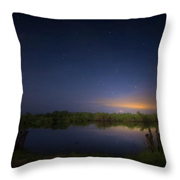 Night Brush Fire In The Everglades Throw Pillow