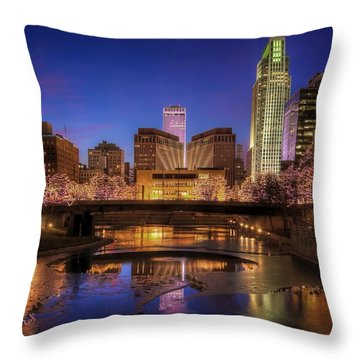 Night Cityscape - Omaha - Nebraska Throw Pillow