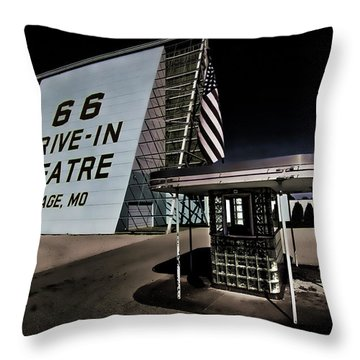Night Fall At Route 66 Drive-in Throw Pillow