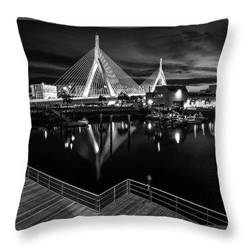 Night Falling On Zakim Bridge Throw Pillow