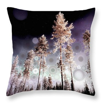 Throw Pillow featuring the mixed media Night Falling by Susan Maxwell Schmidt