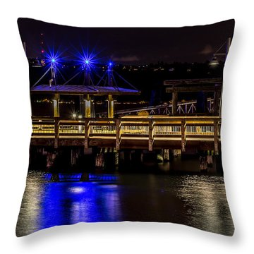 Night Falls On Old Town Pier Throw Pillow