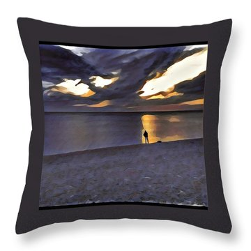 Night Fisher Throw Pillow