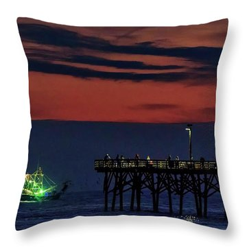 Night Fishing Throw Pillow