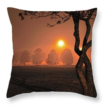Night Fog Throw Pillow by Betty LaRue