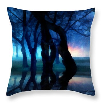 Night Fog In A City Park Throw Pillow by Francesa Miller