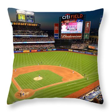 Night Game At Citi Field Throw Pillow