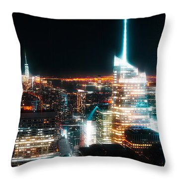 Throw Pillow featuring the mixed media Night Glow New York City by Dan Sproul