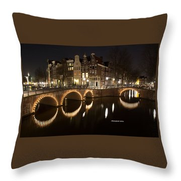 Night In Amsterdam Throw Pillow