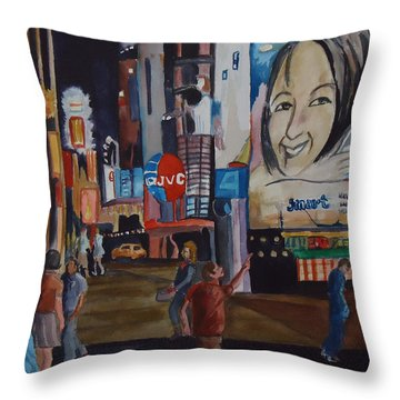 Night In Time Square Throw Pillow