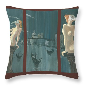Night In Venice. Triptych Throw Pillow