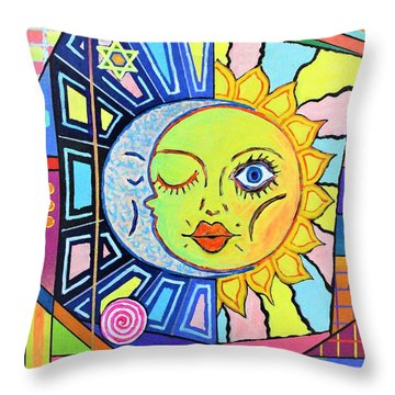 Night Kisses Daylight Throw Pillow by Jeremy Aiyadurai