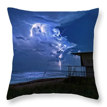 Night Lightning Under Full Moon Over Hobe Sound Beach, Florida Throw Pillow by Justin Kelefas