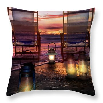 Throw Pillow featuring the photograph Night Lights At Sunset by Debra and Dave Vanderlaan