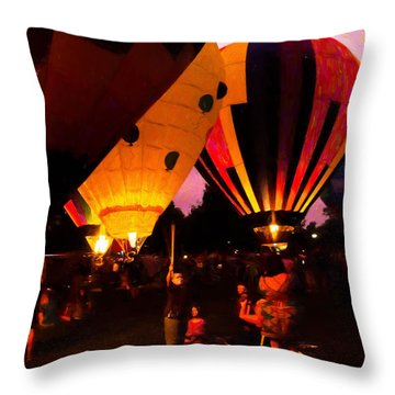 Night Lights Throw Pillow by Cathy Donohoue