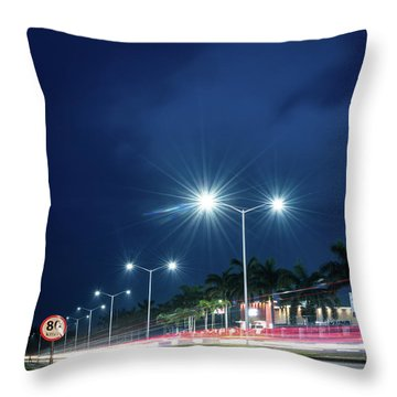 Night Lights In Montego Bay City Throw Pillow
