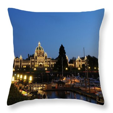 Night Lights On Victoria Harbor Throw Pillow