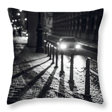 Throw Pillow featuring the photograph Night Lights. Prague by Jenny Rainbow