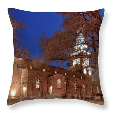 Throw Pillow featuring the digital art Night Lights St Anne's In The Circle by Jim Proctor