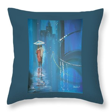 Night Love Walk Throw Pillow by Raymond Doward