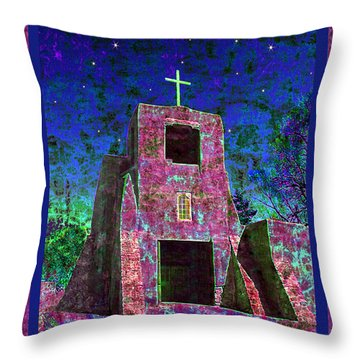 Night Magic San Miguel Mission Throw Pillow by Kurt Van Wagner