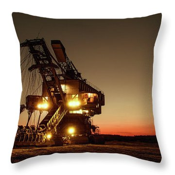 Night Mining Bucket Excavator Throw Pillow