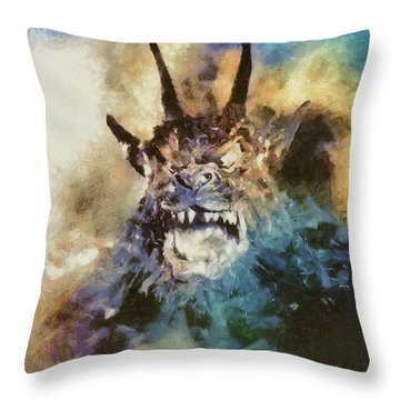 Night Of The Demon, Vintage Horror Throw Pillow