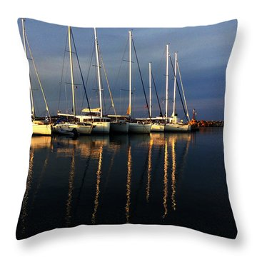 Night On Paros Island Greece Throw Pillow