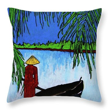 Throw Pillow featuring the painting Night On The Perfume River by Roberto Prusso