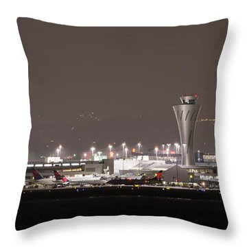 Throw Pillow featuring the photograph Night Operations by Alex Lapidus