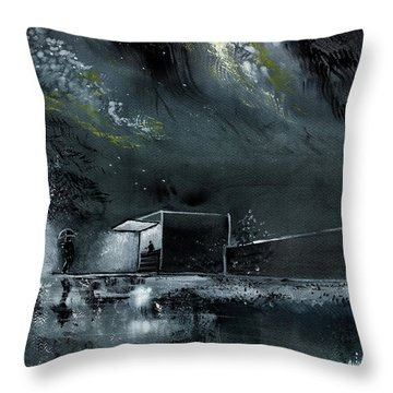Throw Pillow featuring the painting Night Out by Anil Nene