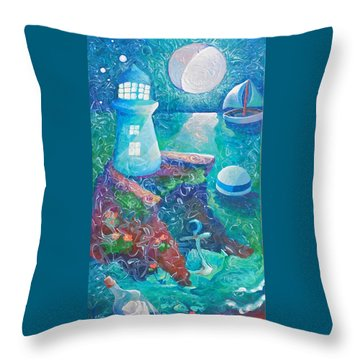 Night Out At Sea Throw Pillow