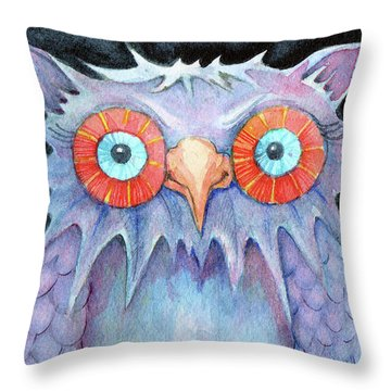 Throw Pillow featuring the painting Night Owl by Lora Serra