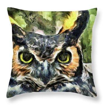 Night Owl Throw Pillow by Trish Tritz
