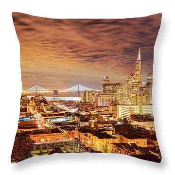 Night Panorama Of San Francisco And Oak Area Bridge From Ina Coolbrith Park - California Throw Pillow