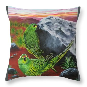 Night Parrots Throw Pillow