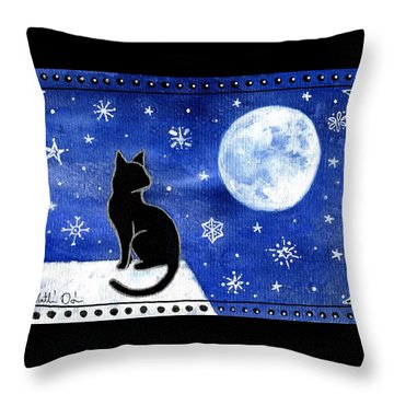 Night Patrol At Wintertime Throw Pillow