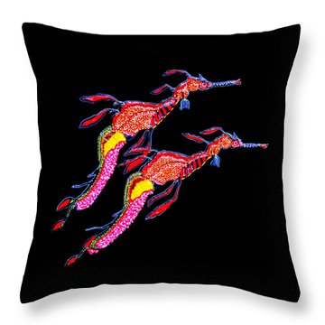 Throw Pillow featuring the painting Night Patrol by Debbie Chamberlin