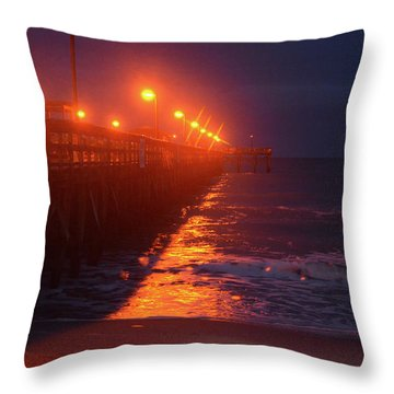 Night Pier Throw Pillow by Gordon Mooneyhan