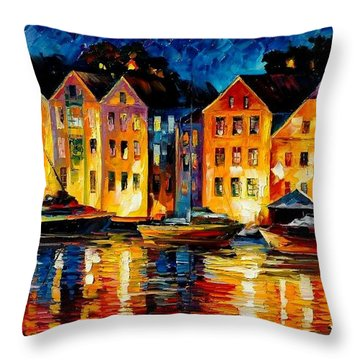 Night Resting Original Oil Painting  Throw Pillow by Leonid Afremov