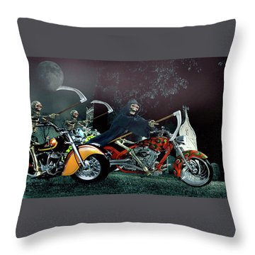 Night Riders Throw Pillow by Steven Agius