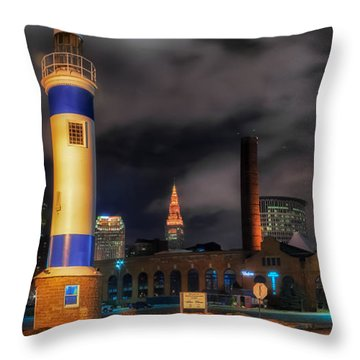 Night Scene Of The Old Powerhouse In Cleveland Throw Pillow