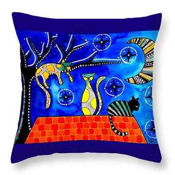 Throw Pillow featuring the painting Night Shift - Cat Art By Dora Hathazi Mendes by Dora Hathazi Mendes