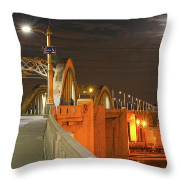 Night Shot Of The Los Angeles 6th Street Bridge And Supermoon #1 Throw Pillow