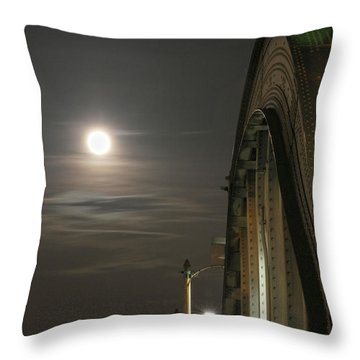 Night Shot Of The Los Angeles 6th Street Bridge And Supermoon #2 Throw Pillow