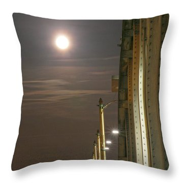 Night Shot Of The Los Angeles 6th Street Bridge And Supermoon #3 Throw Pillow